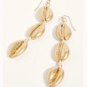 Free People Seashells Dangle Earrings Gold Cowrie